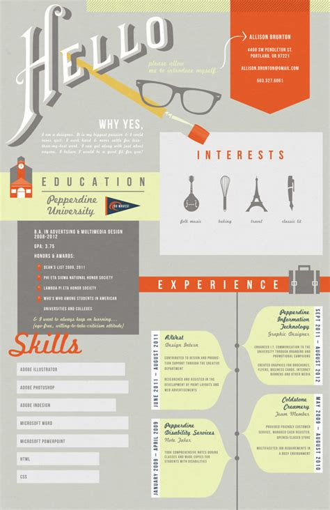 graphic design resume 50 awesome resume designs that will bag the hongkiat
