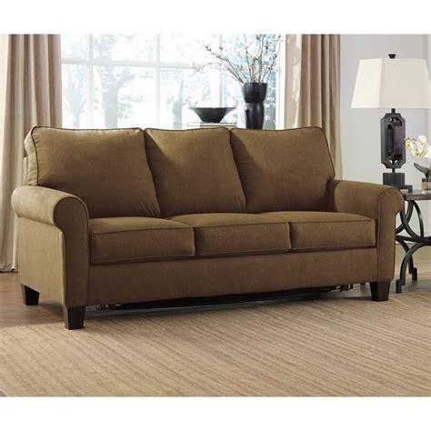 ashley ashley zeth fabric full size sleeper sofa in basil