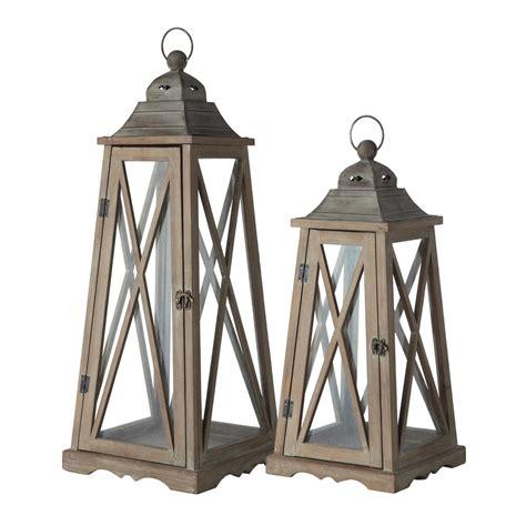 chambre 2 lits 2 lanternes de jardin en bois effet rouille h 80 cm lignon