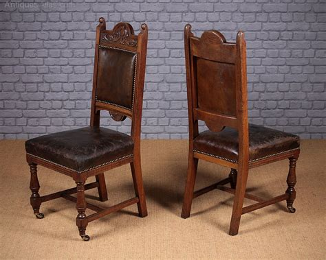set   oak leather dining chairs