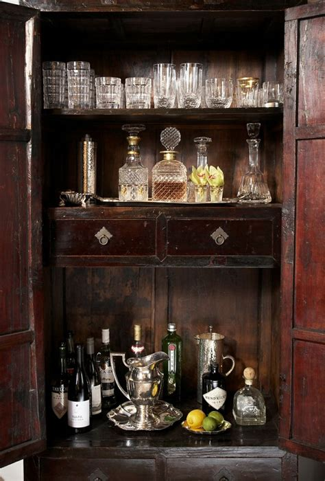 armoire cabinet into a bar vintage home bar area