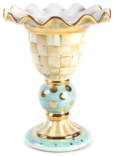 Mackenzie Childs Vase by Parchment Check Stately Vase Mackenzie Childs Eclectic