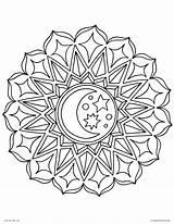 Coloring Mandala Moon Mandalas Pages Printable Adults Stars Geometric Celestial sketch template