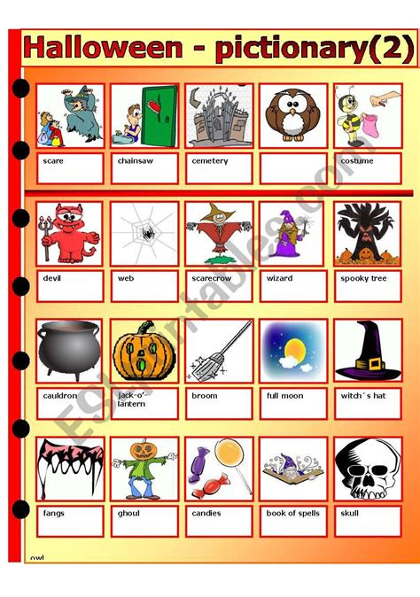 halloween pictionary ii esl worksheet  thomas