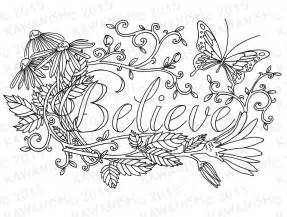 believe flower inspirational adult coloring page gift by kawanish - Inspirational Word Coloring Pages