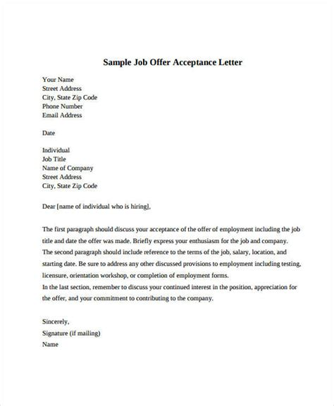offer acceptance letter offer acceptance letter 8 free pdf documents 7442