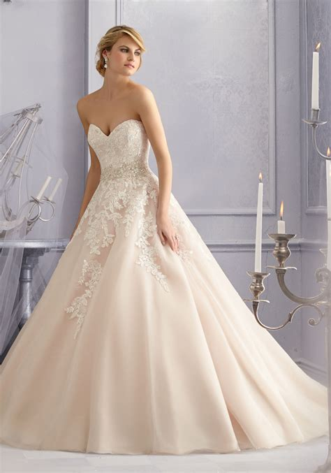 Diamante Beading And Lace On Tulle Wedding Dress Style