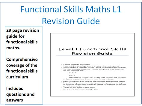 functional skills maths level 1 revision guide workbook with answers by jonesk5 teaching