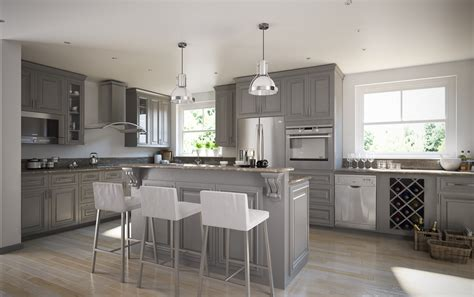 roosevelt steel gray pre assembled kitchen cabinets