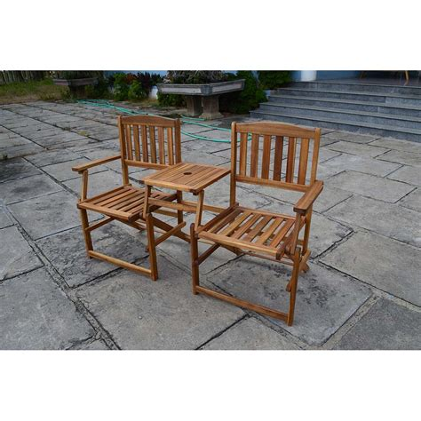 patio wise folding chair set with built in table acacia