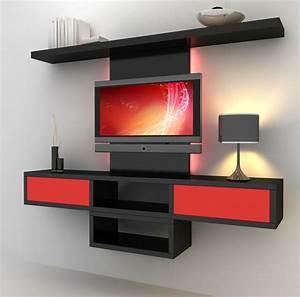Meuble De Rangement Salon : rangement salon moderne et meuble de t l moderne en rouge ~ Dailycaller-alerts.com Idées de Décoration