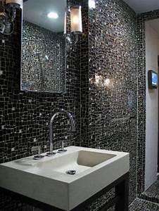 26 black sparkle bathroom tiles ideas and pictures for Black tiles in bathroom ideas
