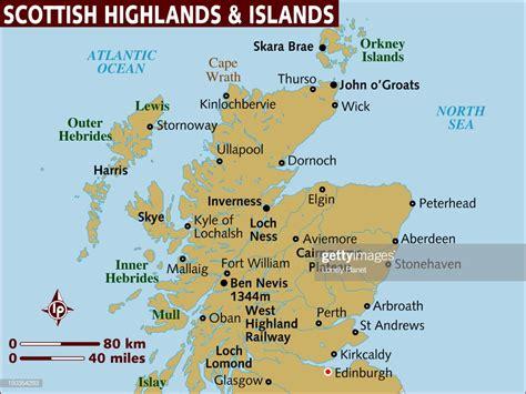 Map Of Scottish Highlands And Islands Stock Illustration