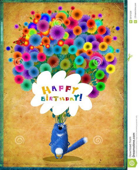 birthday card blue cat  huge bunch  flowers stock