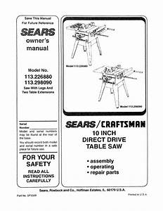Craftsman 113 226880 Specifications