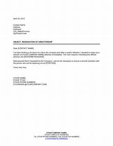 Resignation of Directorship  Template & Sample Form Biztree