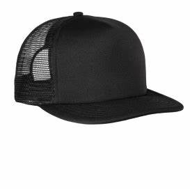 District DT624 Flat Bill Snapback Trucker Cap Black