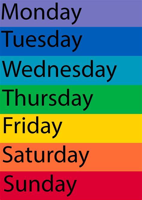 7 Best Printable Days Of The Week Chart - printablee.com