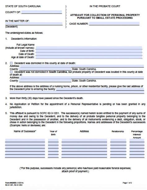 georgia small estate affidavit form free south carolina small estate affidavit form small