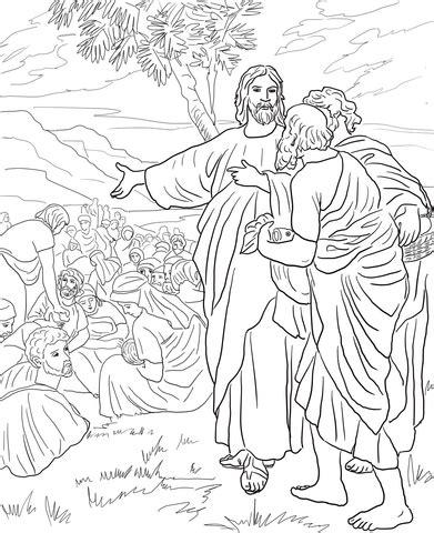 jesus feeds  multitude  fish  bread coloring