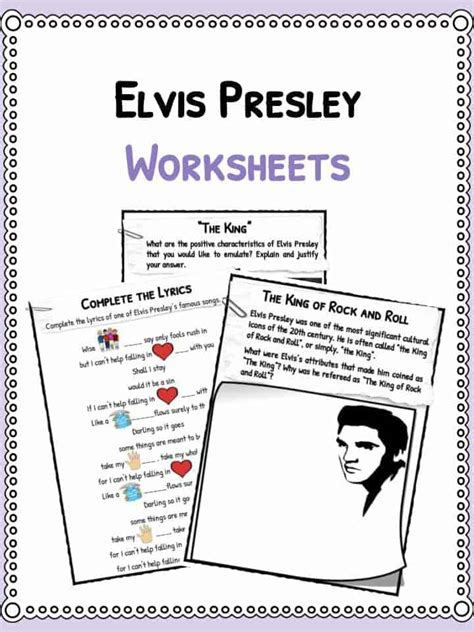 elvis presley facts biography information worksheets