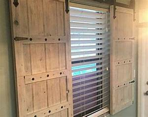 712 best window treatments images on pinterest child With barn wood window shutters