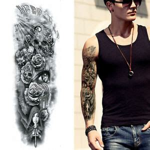 Tribal Angels Roses Skulls Black Full Arm Long Temporary