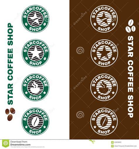 Star Coffee Shop Logo Circle Style Vector Set Design Stock