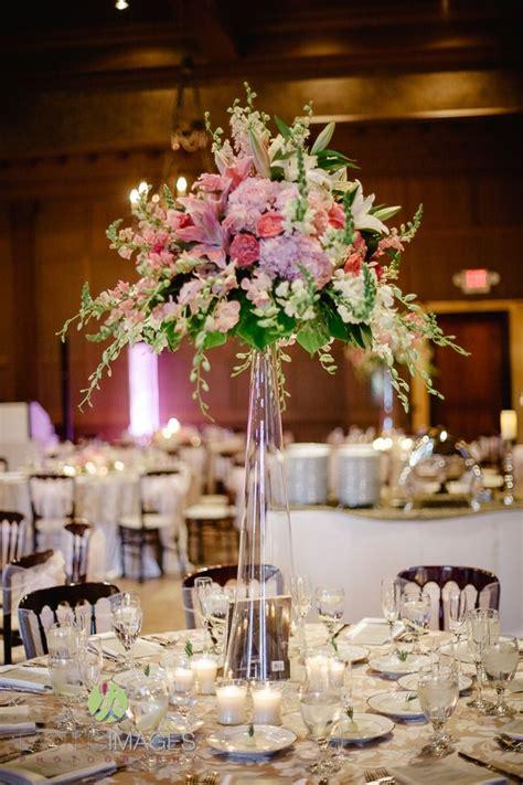 tall glass cylinder centerpiece  pink hydrangea dark