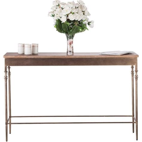 Iron & Wood Console Hall Table w Finial Legs Brass   Buy