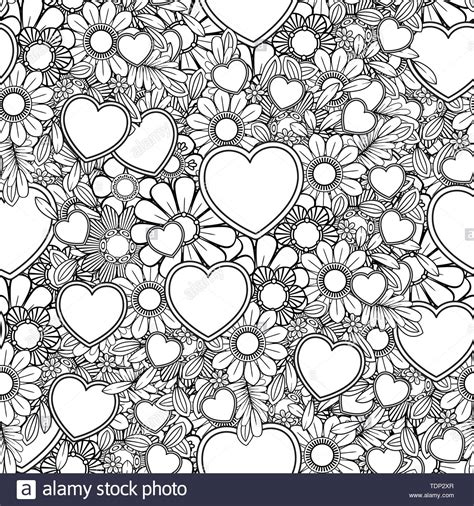 Valentines day seamless pattern with hearts and flowers