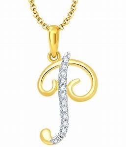 sukkhi letter p gold rhodium plated cz unisex pendant With gold letter p pendant