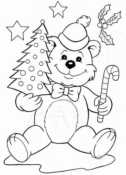 Coloring Christmas Pages Sheets Bing Teddy Window