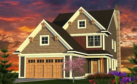 narrow  bed craftsman home plan ah architectural designs house plans
