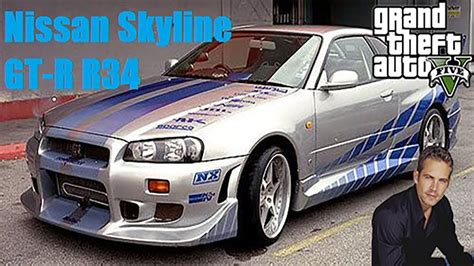 nissan skyline 2002 paul walker gta v mod fast and furious paul walker s nissan skyline