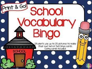school vocabulary bingo print    prep