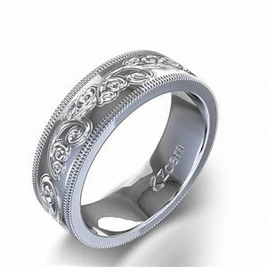Charming hand engraved wedding ring in 14k white gold for Engravings on wedding rings