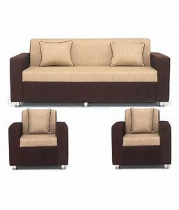 Buy sofa set in cream brown upholstery with 4 cushions for Cheap home furniture online india