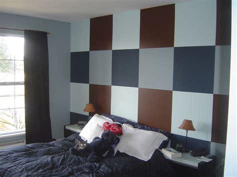 grey  blue wall black bed paint ideas  bedroom