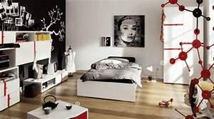 la deco chambre ado fille esthetique et amusante With chambre fille noir et blanc