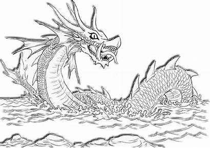 Coloring Dragon Pages Sea Adults Printable Easy