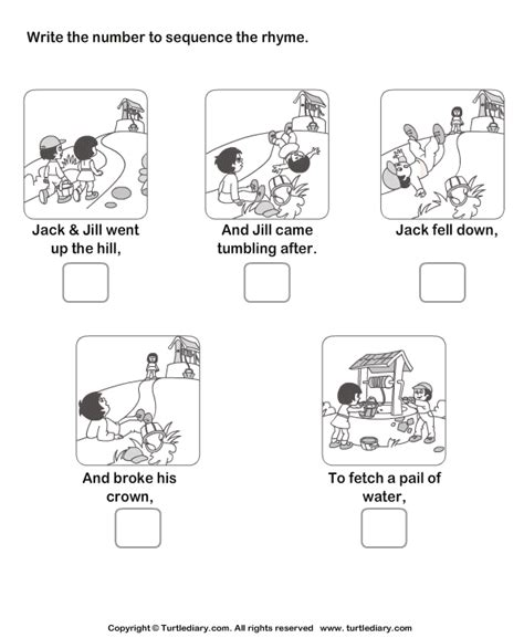 Story Sequencing Jack And Jill Worksheet  Turtle Diary