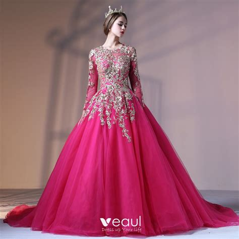 Chic / Beautiful Fuchsia Prom Dresses 2017 Ball Gown Lace ...