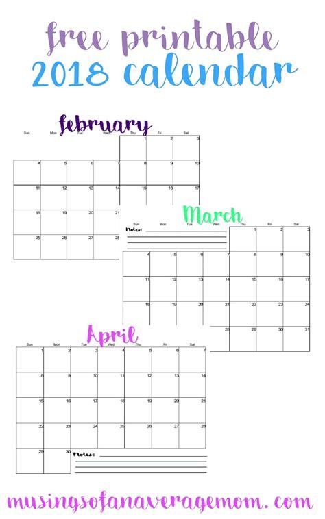 free 2018 calendar template musings of an average 2018 horizontal calendars