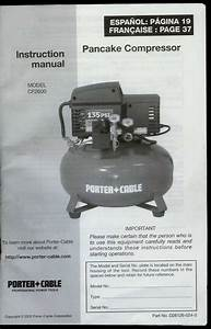 Orig Factory Porter Cable Cf2600 Pancake Compressor Owner