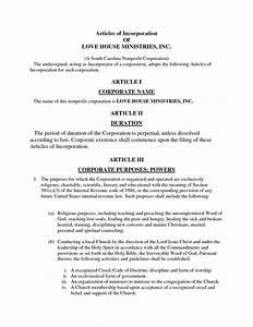 california church articles of incorporation sample With articles of incorporation georgia template