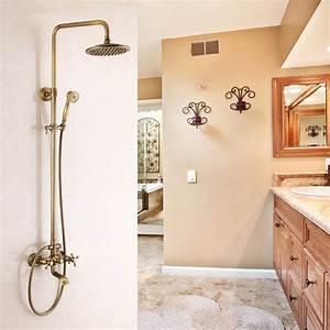 robinet de douche pommeau en cuivre brosse style retro With porte d entrée pvc avec robinet salle de bain retro