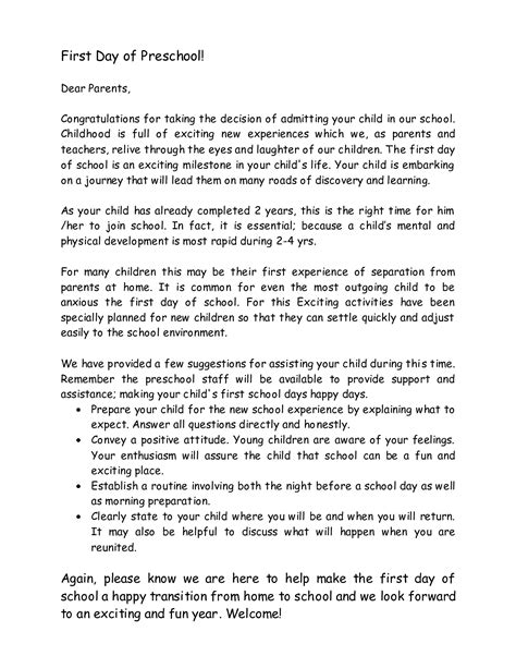 welcome letter to preschool parents learning and teaching 919 | preschool teacher welcome letter to parents 175942