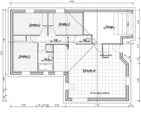 plan de maison 3 chambres salon plan de masse de maison avec 3 chambres salon cuisine et