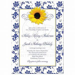 photo wedding invitation sunflower damask royal blue yellow With royal blue and sunflower wedding invitations